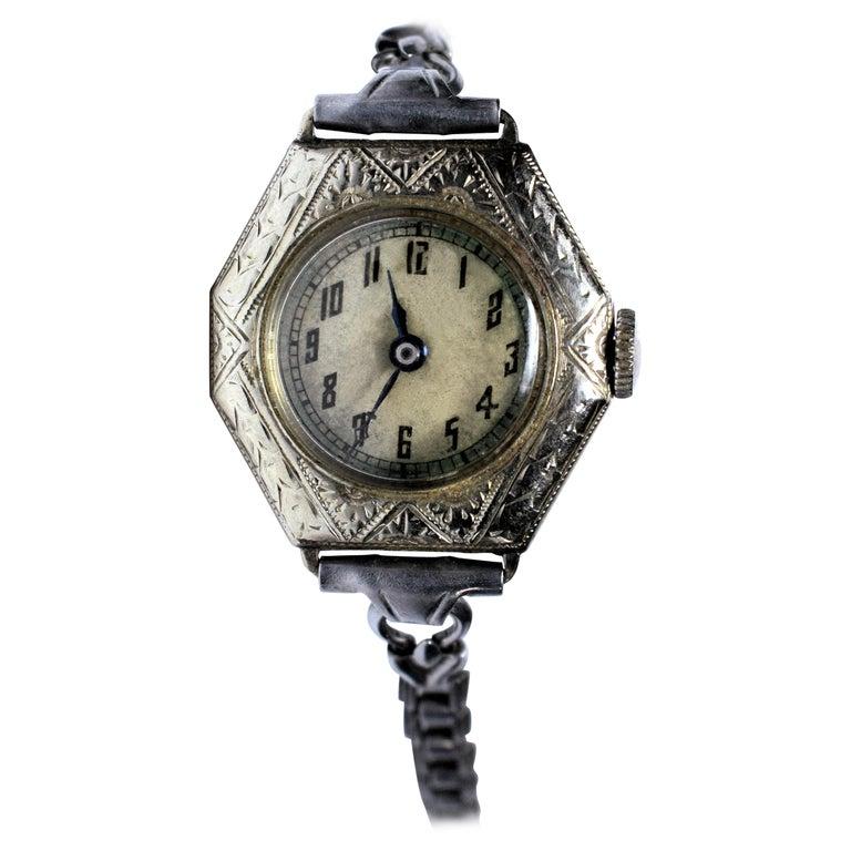 1930s Art Deco Ladies White Gold Filled Wrist Watch
