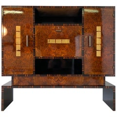 1930s Art Deco Macassar and Walnut Cabinet
