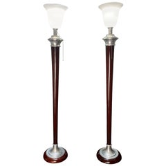 1930s Art Deco Mazda Floor Lamps with Original Stamp, Pair of Torchiere Lamps
