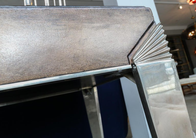 1930s Art Deco Metal and Leather Console Table or Desk For Sale 6