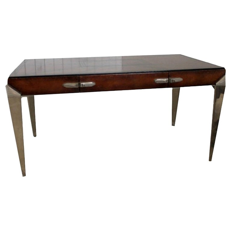 1930s Art Deco Metal and Leather Console Table or Desk For Sale