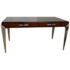 1930s Art Deco Metal and Leather Console Table or Desk