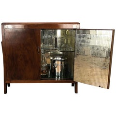 1930s Art Deco Midcentury Regency Italian Burl and Mirror Dry Bar Cabinet