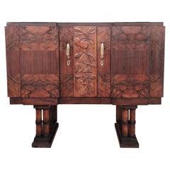 1930s Art Deco Midcentury Regency Italian Walnut Burl Sideboard Dry Bar Cabinet