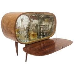 1930s Art Deco Midcentury Regency Italian Wood and Mirror Mosaic Dry Bar Cabinet