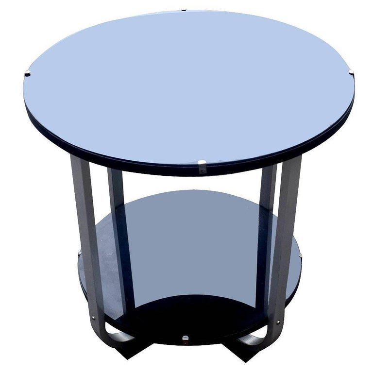 1930s Art Deco Modernist Chrome and Ebonized Table