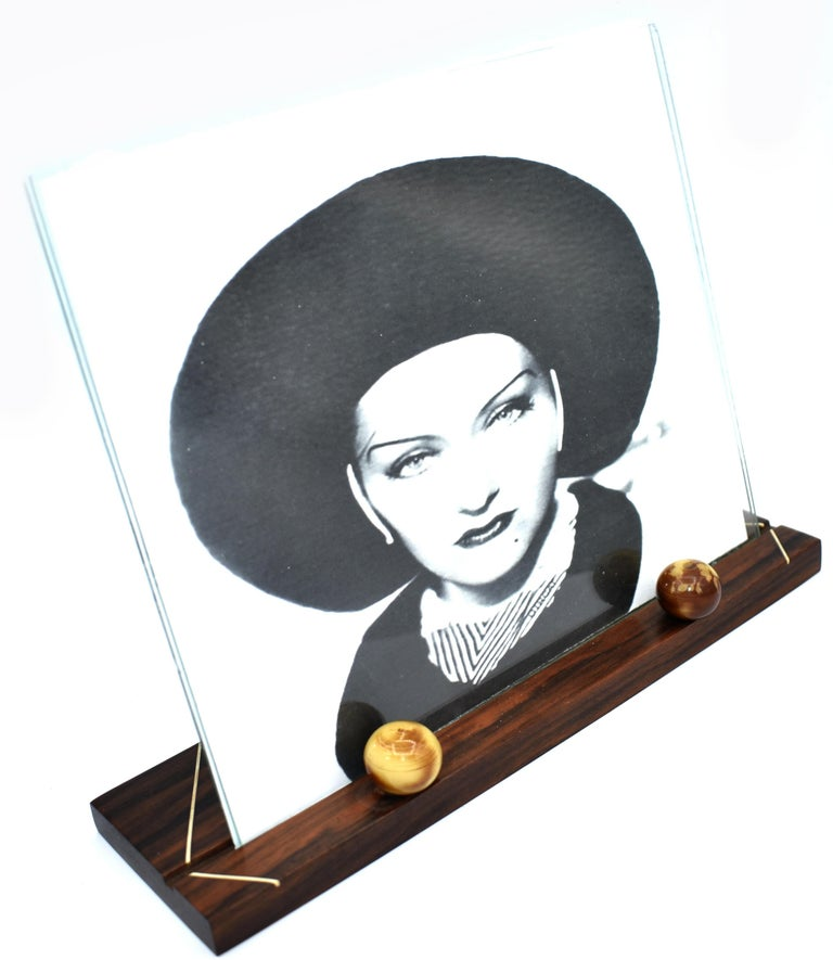 1930s Art Deco Modernist Wood and Bakelite Picture Frame In Good Condition For Sale In Devon, England