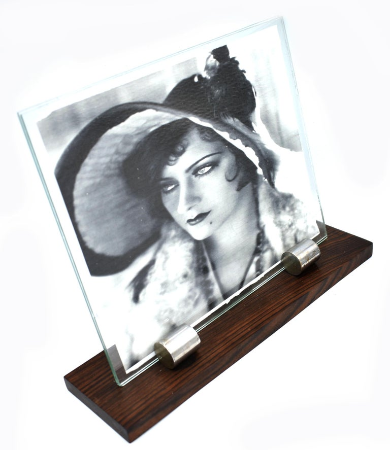 French 1930s Art Deco Modernist Wood and Chrome Picture Frame For Sale
