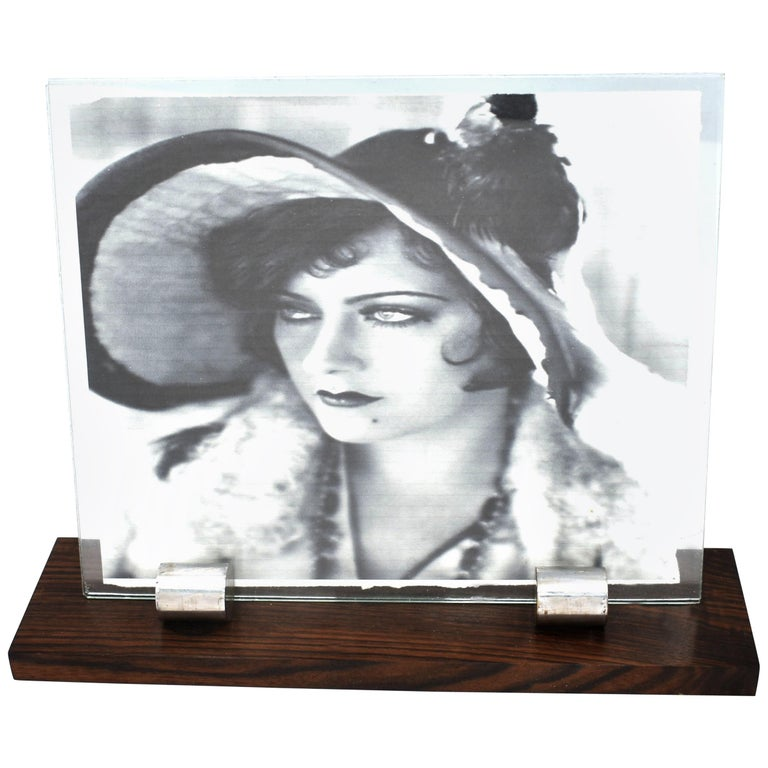 1930s Art Deco Modernist Wood and Chrome Picture Frame For Sale
