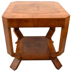 1930s Art Deco Occasional Two-Tier Walnut Table, circa 1930