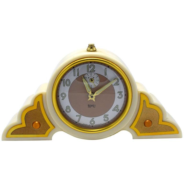 1930s Art Deco Odeon Cream Bakelite Clock For Sale