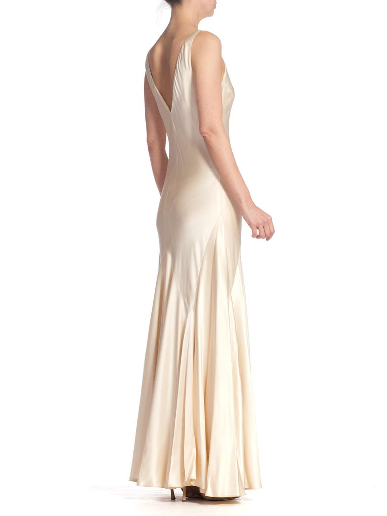 Women's 1990S 1930'S Art Deco Old Hollywood Style Bias Cut Vintage Bridal Gown For Sale