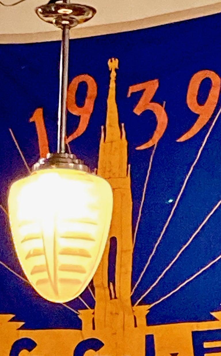 English 1930s Art Deco Opaline Glass Torpedo Skyscraper Ceiling Light Lamp For Sale