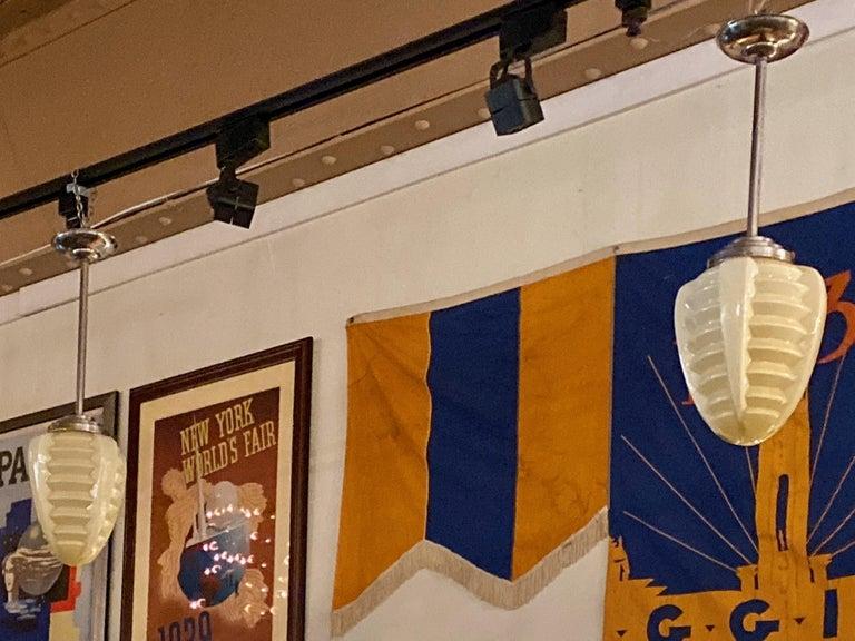 1930s Art Deco Opaline Glass Torpedo Skyscraper Ceiling Light Lamp For Sale 4