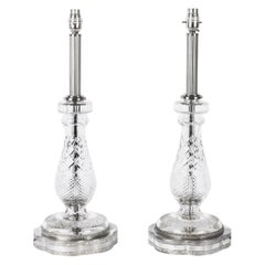 1930s Art Deco Pair of Cut Glass and Silver Plate Table Lamps