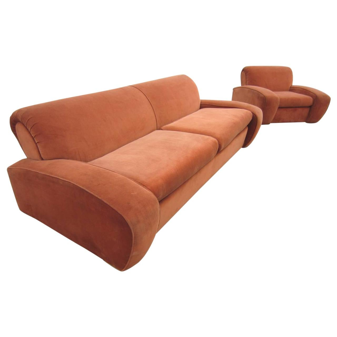 """1930's Art Deco Paul Frankl """"Speed"""" Lounge Chair and Sofa Set"""