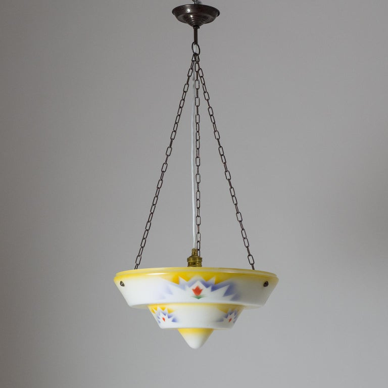 1930s Art Deco Pendant, Enameled Glass and Brass For Sale 8