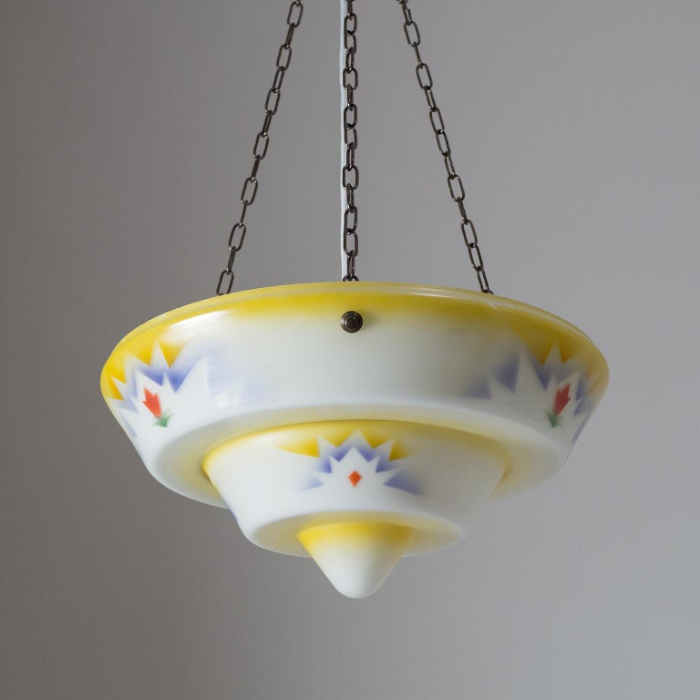1930s Art Deco Pendant, Enameled Glass and Brass For Sale 9