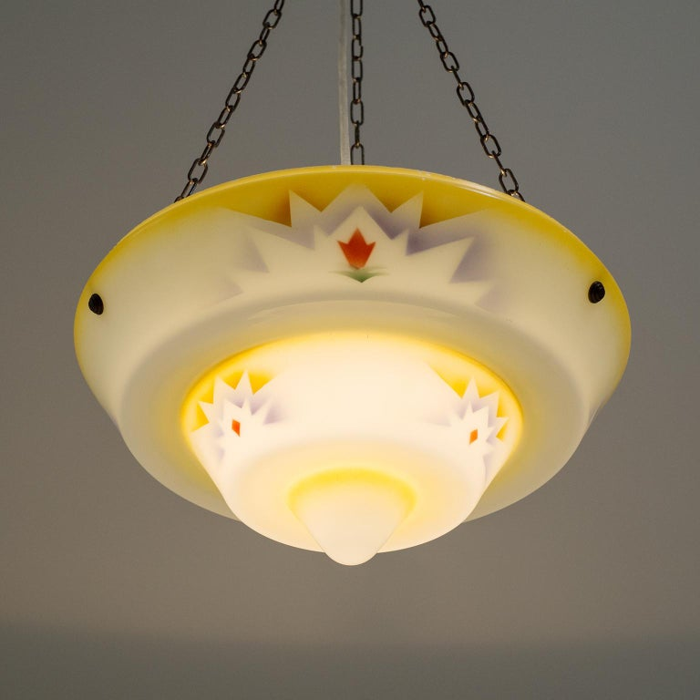 1930s Art Deco Pendant, Enameled Glass and Brass For Sale 11