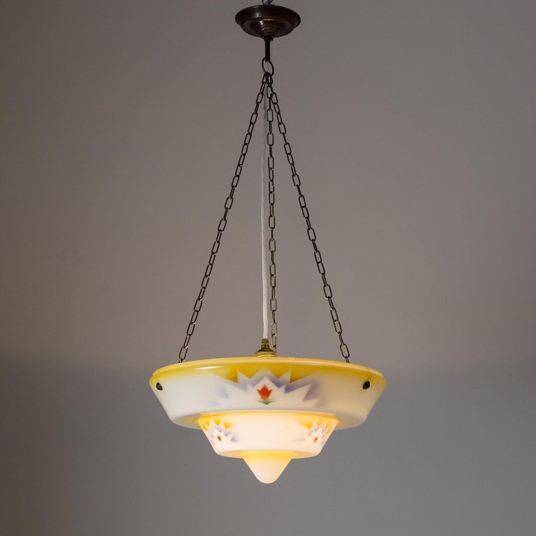 1930s Art Deco Pendant, Enameled Glass and Brass For Sale 12