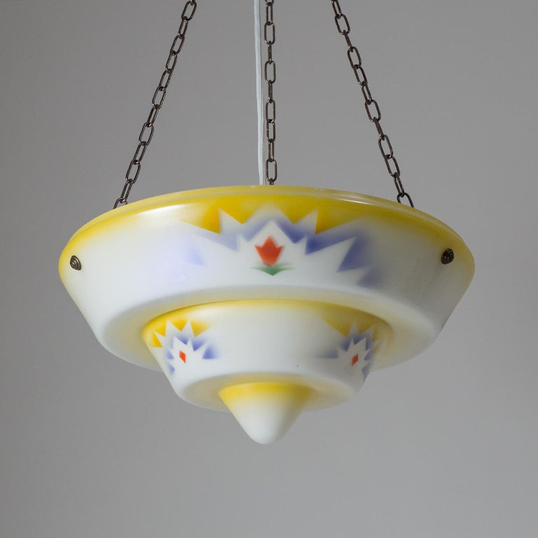 German 1930s Art Deco Pendant, Enameled Glass and Brass For Sale