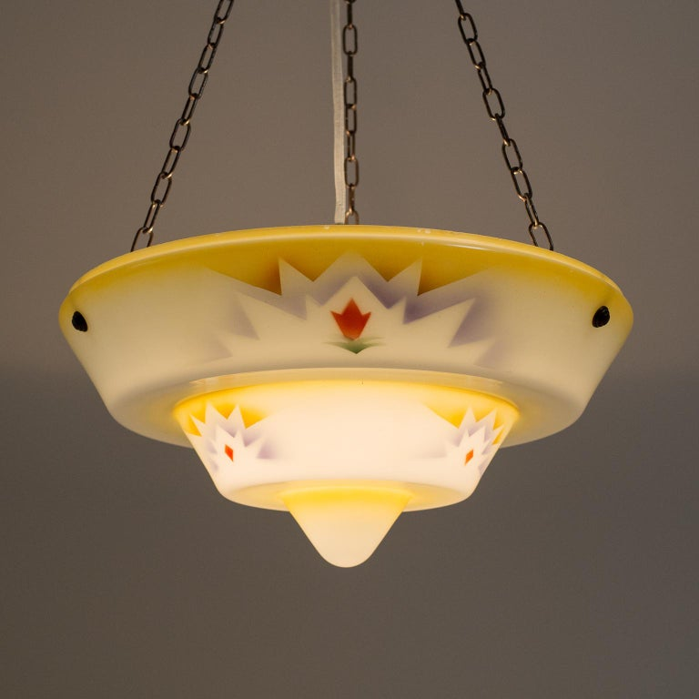 1930s Art Deco Pendant, Enameled Glass and Brass In Good Condition For Sale In Vienna, AT