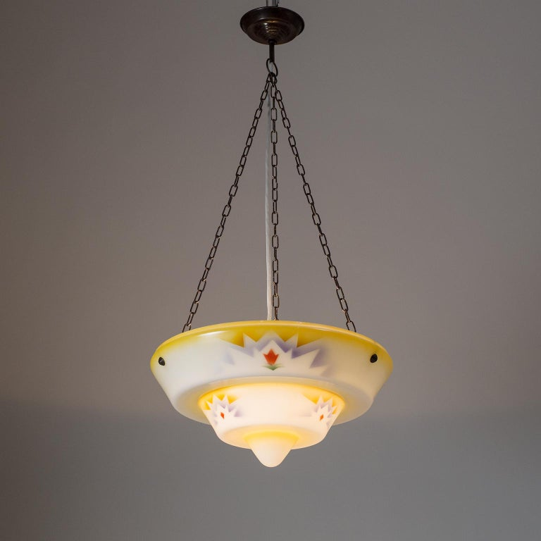 Mid-20th Century 1930s Art Deco Pendant, Enameled Glass and Brass For Sale
