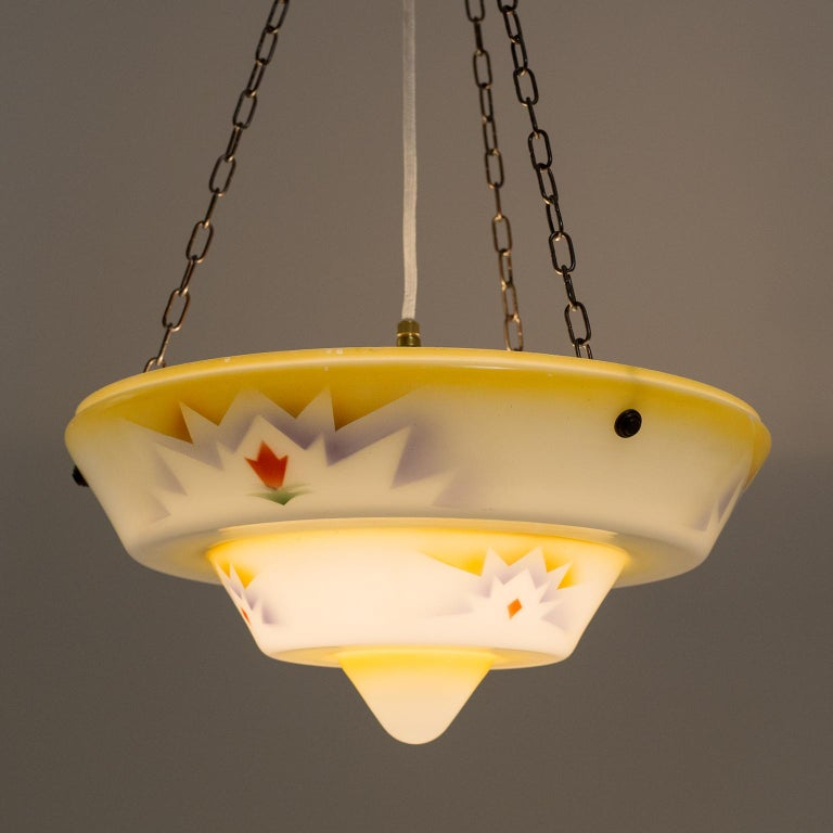 1930s Art Deco Pendant, Enameled Glass and Brass For Sale 1