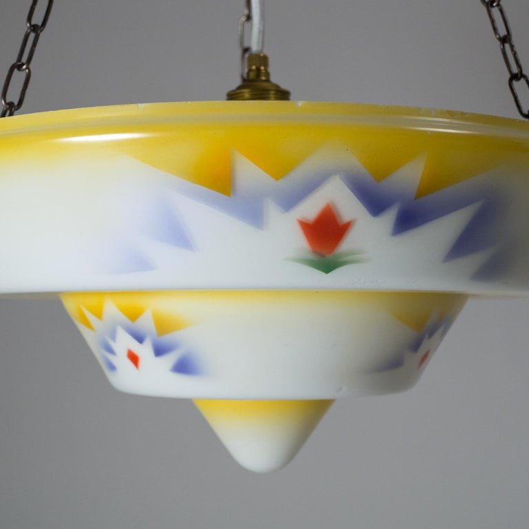1930s Art Deco Pendant, Enameled Glass and Brass For Sale 2