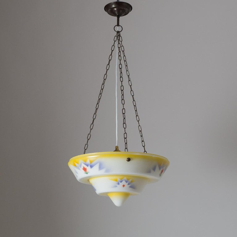 1930s Art Deco Pendant, Enameled Glass and Brass For Sale 3