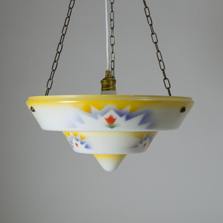 1930s Art Deco Pendant, Enameled Glass and Brass For Sale 4
