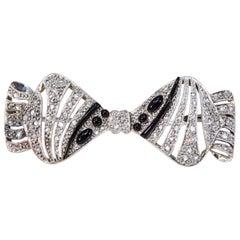 1930s Art Deco Platinum French Onyx Diamond Tuxedo Bow Shaped Brooch Pin Pendant