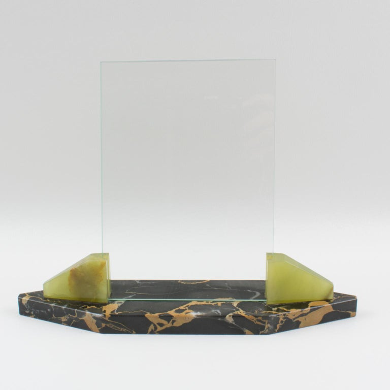 Mid-20th Century 1930s Art Deco Marble Onyx Picture Frame For Sale