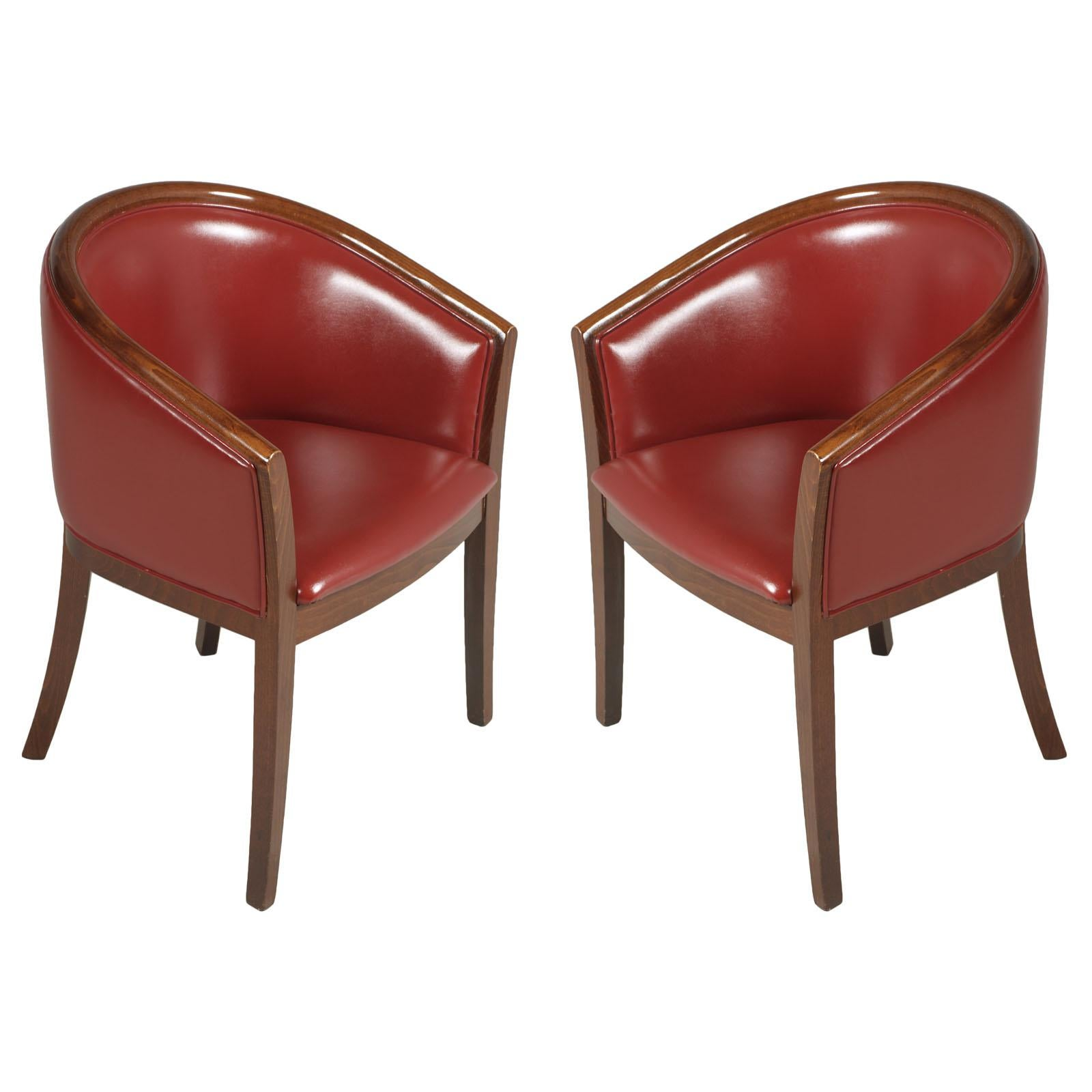 1930s Art Deco Pozzetto Pair Armchairs, Loung Chairs, Walnut, Leather Bordeaux