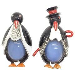 1930s Art Deco Rare Mr & Mrs Penguin Early Coro Fur Clips