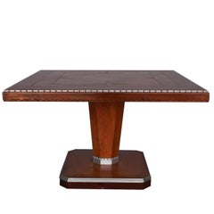 1930s Art Deco Rosewood Square Pedestal Table