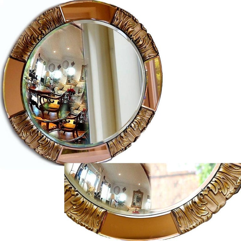 1930s Art Deco Round Rose Tinted Bevelled Edge Mirror In Good Condition For Sale In Devon, England