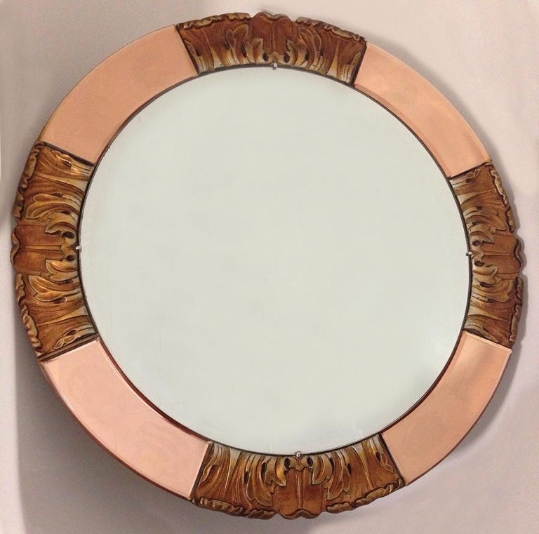 Wood 1930s Art Deco Round Rose Tinted Bevelled Edge Mirror For Sale