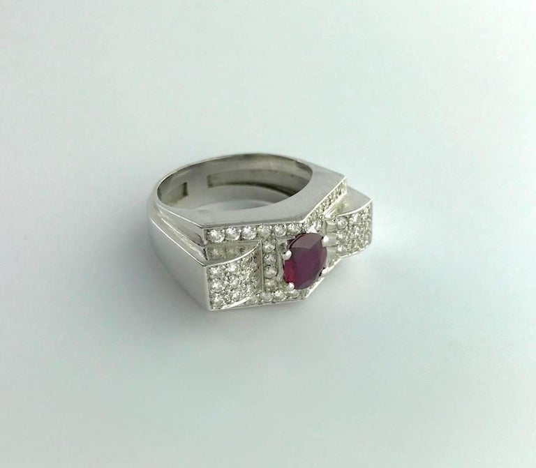 1930s Art Deco Ruby and Diamond Platinum Ring For Sale 1