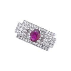 1930s Art Deco Ruby and Diamond Platinum Ring