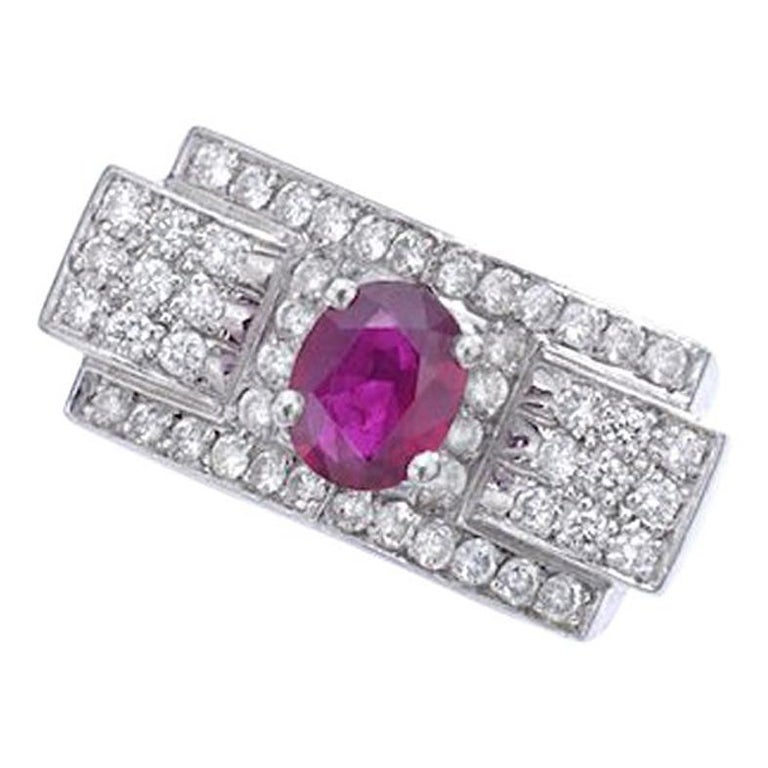 1930s Art Deco Ruby and Diamond Platinum Ring For Sale