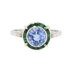 1930s Art Deco Sapphire Emerald Diamonds 18 Karat White Gold Ring