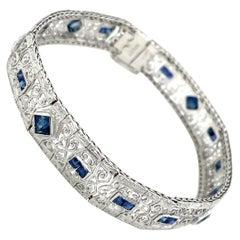 1930s Art Deco Sapphire Engraved Bracelet