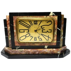 1930s Art Deco Small Marble Clock by Dep