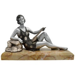 1930s Art Deco Spelter Figure 'Girl with Lute'