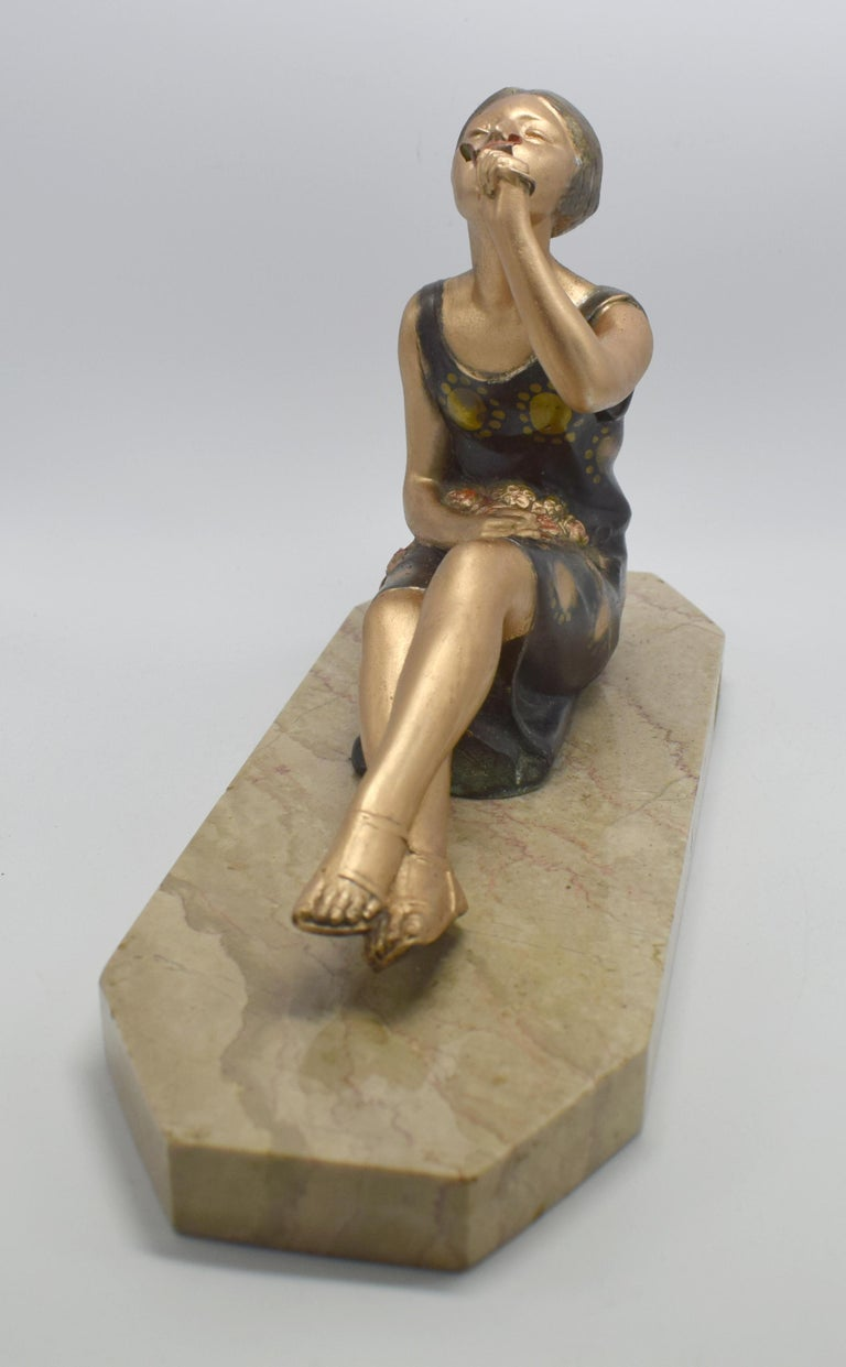French 1930s Art Deco Spelter Figure 'Girl with Roses' For Sale