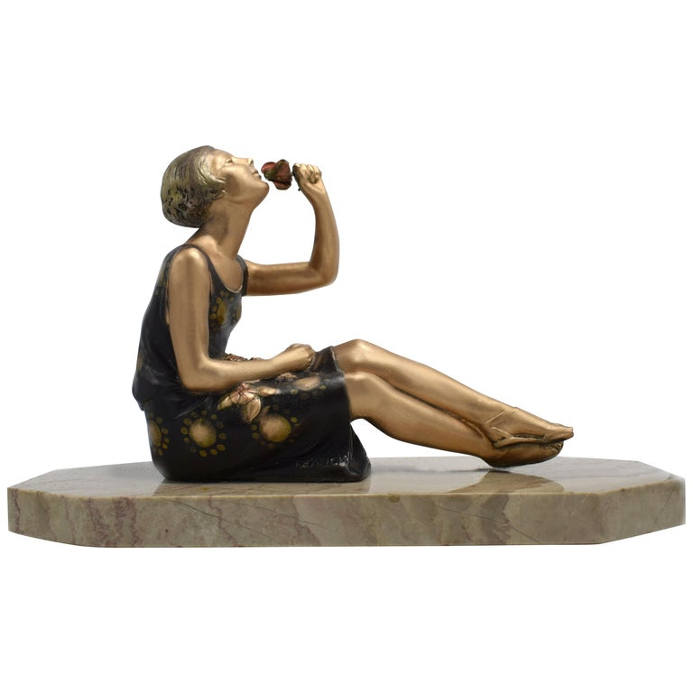 1930s Art Deco Spelter Figure 'Girl with Roses' For Sale