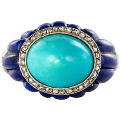 1930s Art Deco Sugarloaf Turquoise Lapis Lazuli Diamonds Platinum Ring