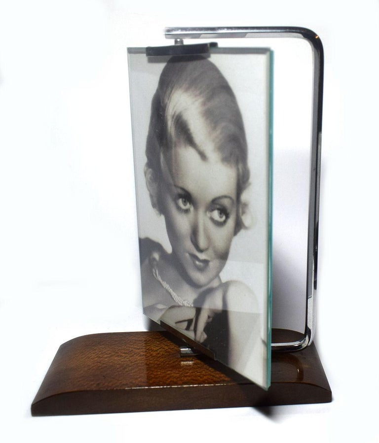 1930s Art Deco Swivel Chrome And Wood Picture Frame At 1stdibs