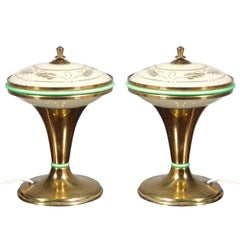 1930s Art Deco Table Lamps, Gilt Brass, Murano Opaline, Decorated Gold Glass